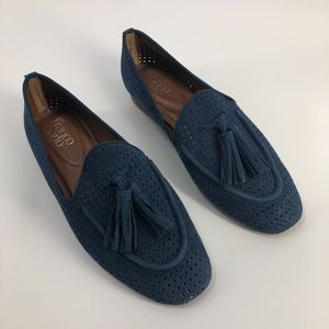Franco Sarto Tassel Leather Loafers 8.5 Blue Solid